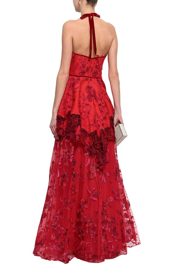 3bc3bce20e8 Crocheted tulle and scuba peplum dress | MARCHESA NOTTE | Sale up to ...