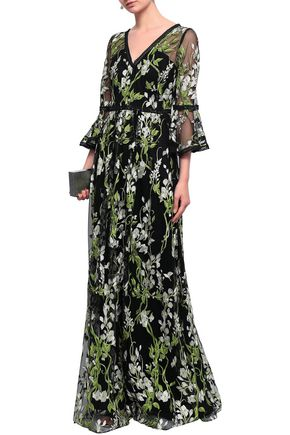 b09ad4c6 MARCHESA NOTTE Crochet-trimmed embroidered tulle gown