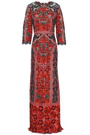 MARCHESA NOTTE Guipure lace gown