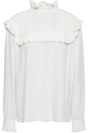 M MISSONI Ruffled silk-blend crepe de chine blouse