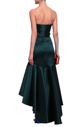 MARCHESA NOTTE Strapless ruched duchesse-satin gown
