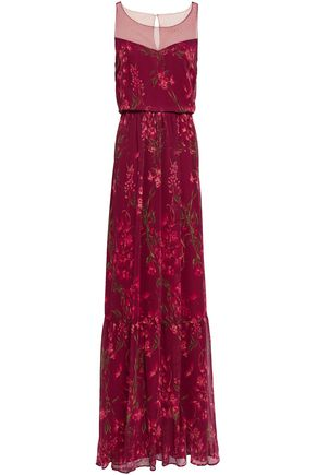 06ed0932 MARCHESA NOTTE Point d'esprit-paneled floral-print georgette gown