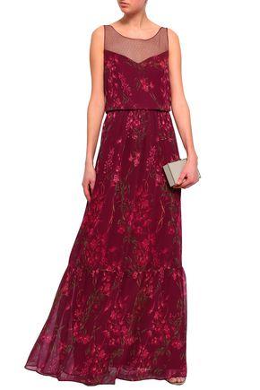 MARCHESA NOTTE Point d'esprit-paneled floral-print georgette gown