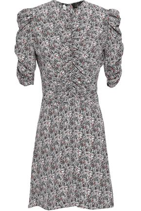 DE LA VALI Ruched printed crepe de chine mini dress