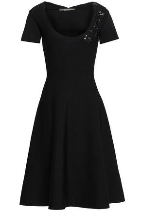 ZAC POSEN Appliquéd stretch-knit dress