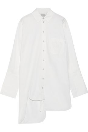 ZIMMERMANN Maples asymmetric appliquéd cotton-poplin shirt