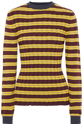 MARNI Striped ribbed cotton-blend top