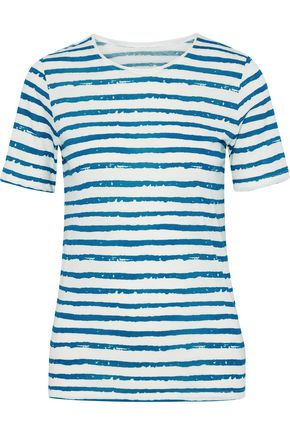 MAJESTIC FILATURES Striped cotton and cashmere-blend T-shirt