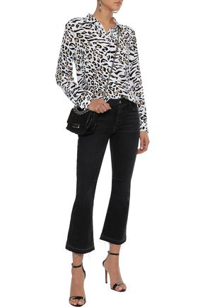 EQUIPMENT Essential leopard-print washed-silk shirt