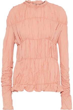 MARNI Ruched crinkled crepe de chine blouse