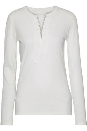 MAJESTIC FILATURES Lace-up cotton and cashmere-blend top