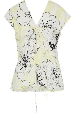 MARNI Ruched floral-print cotton-poplin peplum top