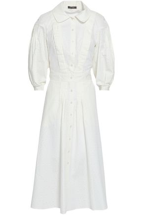 ZAC POSEN Pleated broderie anglaise cotton and silk-blend midi shirt dress