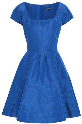 ZAC POSEN Flared silk-faille mini dress