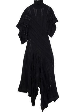 ROBERTO CAVALLI Asymmetric crochet-knit turtleneck maxi dress