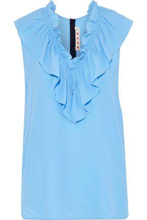 MARNI Ruffled crepe de chine blouse