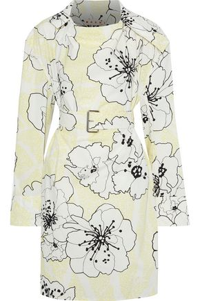 MARNI Belted floral-print cotton-poplin tunic