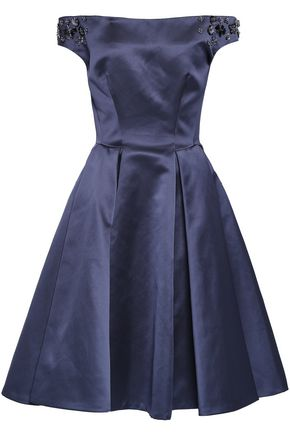 ZAC POSEN Off-the-shoulder embellished duchesse-satin dress