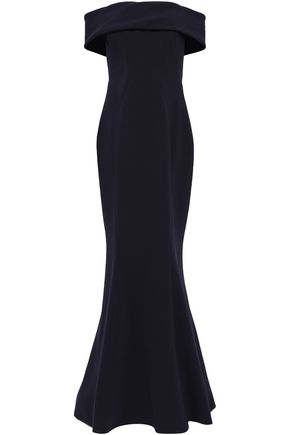 ZAC POSEN Off-the-shoulder fluted crepe gown