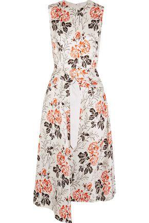 VICTORIA BECKHAM Asymmetric belted floral-print cloqué midi dress