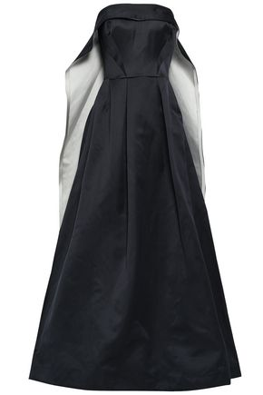 ZAC POSEN Flared two-tone duchesse-satin gown