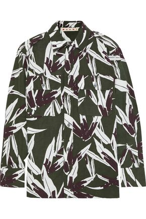 MARNI Printed cotton and linen-blend shirt