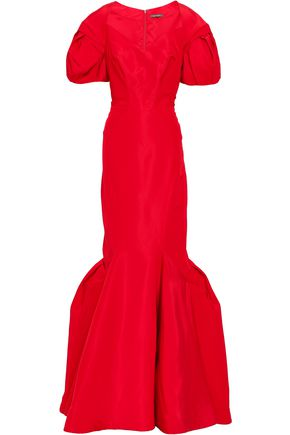 ZAC POSEN Flared duchesse silk-satin gown