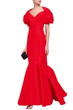 ZAC POSEN Flared duchesse silk-satin gown