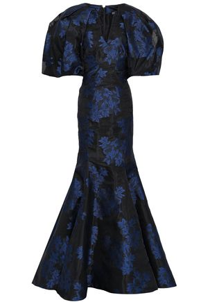ZAC POSEN Flared floral-jacquard gown