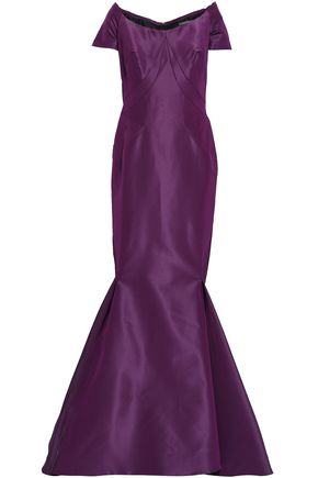 ZAC POSEN Off-the-shoulder flared silk-taffeta gown