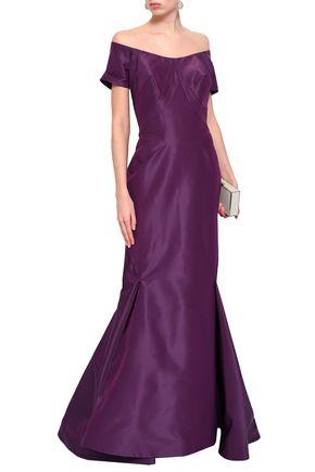 ZAC POSEN Off-the-shoulder flared silk-taffeta gown