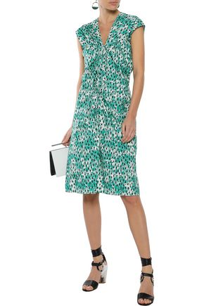 MARNI Ruched printed cotton-poplin dress