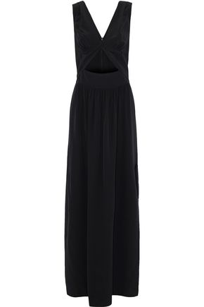 L'AGENCE Silvano twist-front cutout silk crepe de chine gown