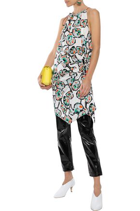 MARNI Asymmetric ruched printed cotton-poplin tunic