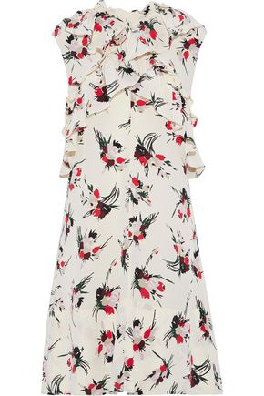 MARNI Ruffle-trimmed floral-print silk crepe de chine dress