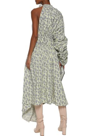 MARNI One-shoulder ruched floral-print cotton-poplin maxi dress