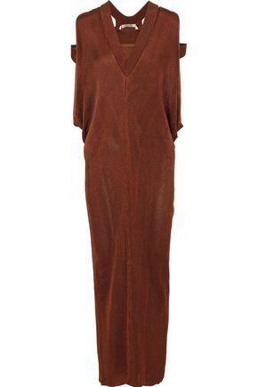 ROBERTO CAVALLI Cutout draped knitted maxi dress
