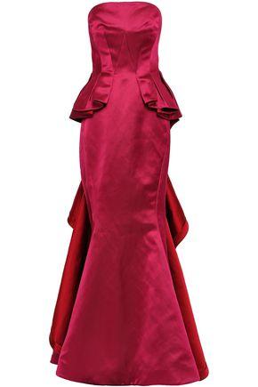 ZAC POSEN Strapless ruffled duchesse-satin peplum gown