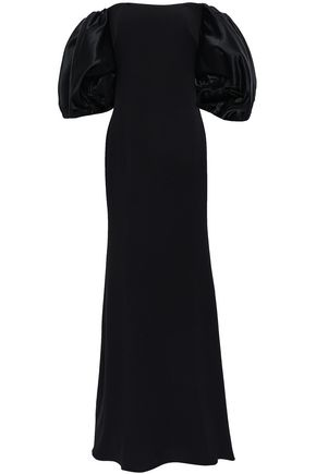 BADGLEY MISCHKA Off-the-shoulder satin and crepe gown
