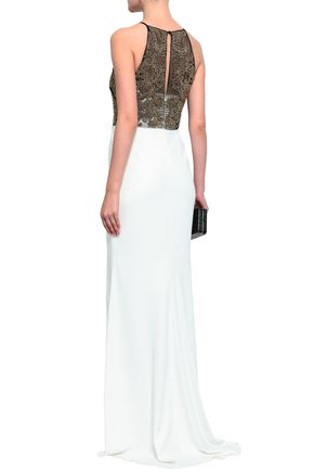 BADGLEY MISCHKA Embellished tulle and cady gown