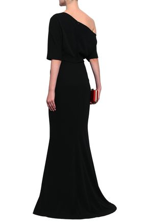 BADGLEY MISCHKA Off-the-shoulder fluted cady gown