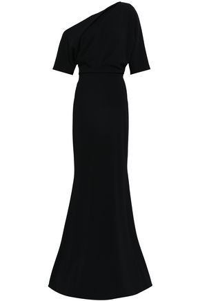 BADGLEY MISCHKA One-shoulder fluted cady gown