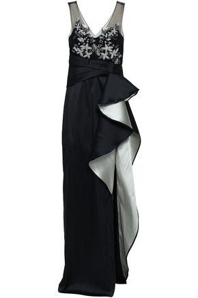 MARCHESA NOTTE Embellished tulle-paneled ruffled duchesse-satin gown