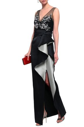 MARCHESA NOTTE Draped embellished tulle and duchesse-satin gown