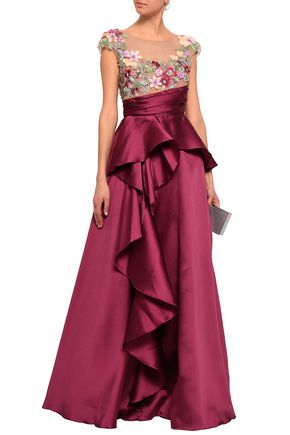 MARCHESA NOTTE Embellished tulle and duchesse-satin gown