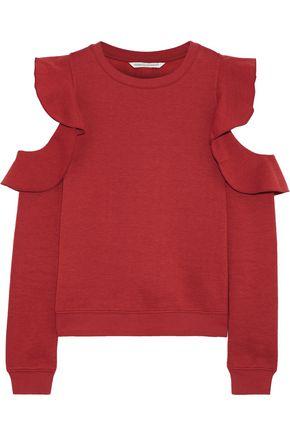 REBECCA MINKOFF Gracie cold-shoulder ruffled fleece sweatshirt