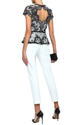 MARCHESA NOTTE Cutout embroidered corded lace and tulle peplum top