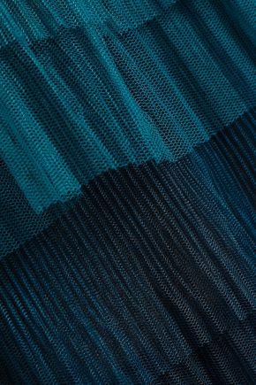 MARCHESA NOTTE Tiered lace and plissé-tulle mini dress