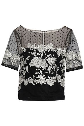 MARCHESA NOTTE Embroidered flocked tulle top