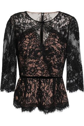 MARCHESA NOTTE Velvet-trimmed Leavers lace peplum top